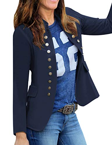 luvamia Women's Open Front Long Sleeves Work Blazer Casual Buttons Jacket Suit Navy Size Small (Fits US 4-US 6)