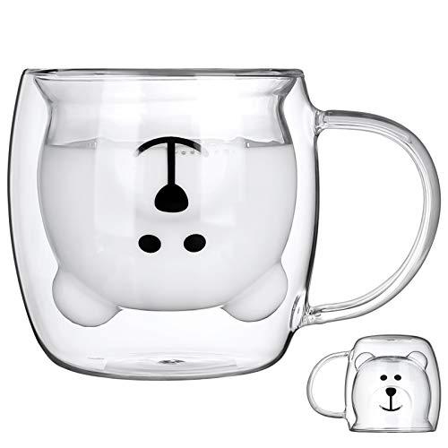 iClosam Tazas de café de cristal de 300 ml, con doble pared aislada, tazas de café, tazas de cristal sin plomo, tazas de té con asa para el día de San Valentín, regalos románticos de cumpleaños