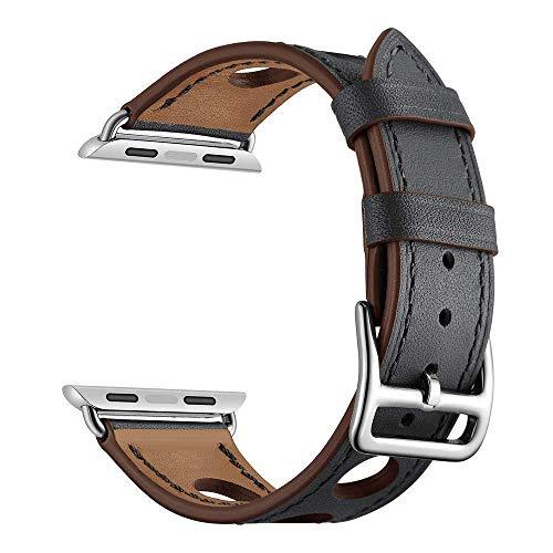 Mira las correas de reloj de correa de liberación correas compatibles con iWatch banda original de reemplazo de la correa de cuero de la venda, compatible con el reloj de la Serie 4 Serie 3 Serie 2 1,