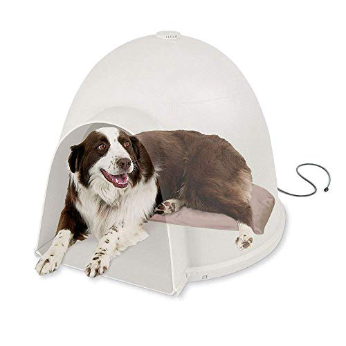 K&H Pet Products Lectro-Soft Igloo Style Dog Bed, Tan, 60W/Large/17.5' x 30'