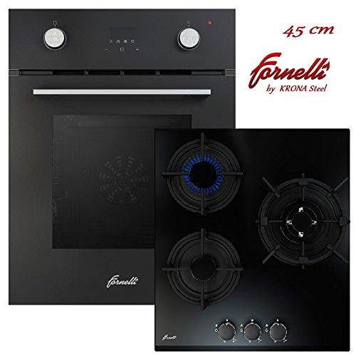 FORNELLI FEA 45 Sonata BK und PGA 45 Fiero BK Herdset 45 cm Einbau Multifunktional Backofen mit Gaskochfeld/schwarz Glas/Energieeffizienzklasse: A (schwarz Set)