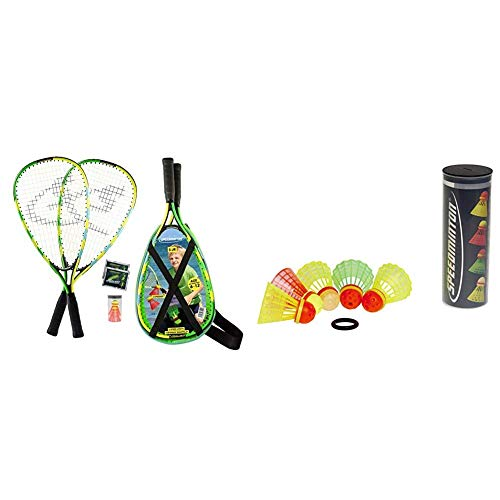 Speedminton® Junior Set – Original Speed Badminton/Crossminton Kinder Set inkl. 2 Fun Speeder®, Tasche & Speedminton Mix Speeder - 5er Pack Speed Badminton/Crossminton Bälle gemischt inkl. Windring