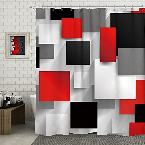 SVBright Red and Black Shower Curtain Grey Abstract Rustic White 60Wx72L Inch Geometry Modern 3D Digital Print 12 Pack Hooks Polyester Waterproof Fabric Bathroom Bathtub Panels