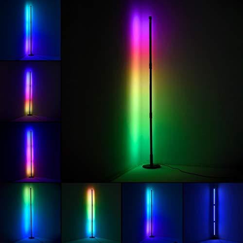LED Stehlampe Dimmbar RGB mit Fernbedienung 20W Stehleuchte 50inch für Wohnzimmer Schlafzimmer Farbwechsel Lichtsaeule Farbtemperaturen und Helligkeit Stufenlos Dimmbar (Runden)