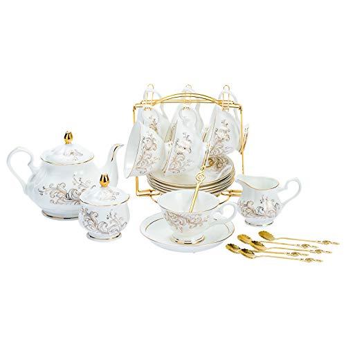 Daveinmic 22-Pieces Porcelain Bone china Tea Sets,Gold Rim Coffee Set with Golden Metal Rack,Cups,Saucers,Spoons,Teapot,Sugar Bowl,Creamer Pitcher,Tea Gift Sets for Home&Party(Gold Rim phoenix set)