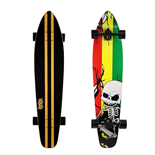 quality longboards DINBIN 42 Inch Drop Through 8 Ply Maple Complete Longboards Skateboard,Cruising,Freeride Slide,Freestyle and Downhill Freestyle Cruiser for Teens or Adults