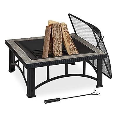 Relaxdays Fire Bowl, Spark Guard & Poker, Stone Decoration & Steel, Garden & Patio, 54 x 76.5 x 76.5 cm, Black/Grey by Relaxdays