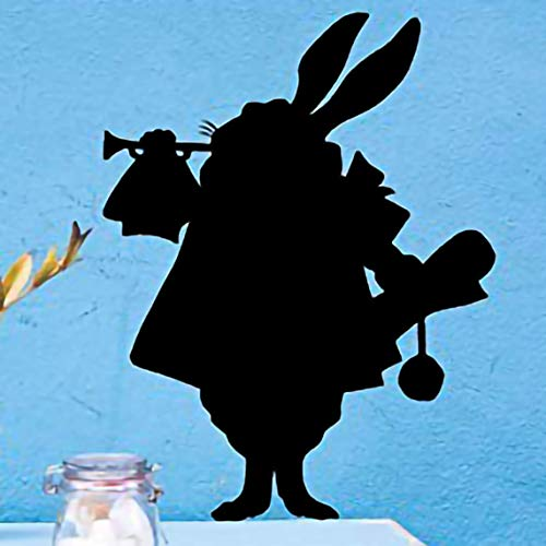 """Removable Alice in Wonderland White Rabbit Silhouette Black Vinyl Wall Decal, 12"""" Inches Tall"""