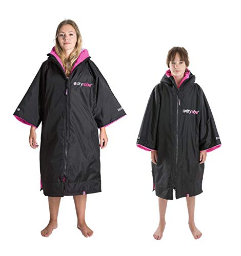 Dryrobe Advance Short Sleeve Change Robe - Stay Warm and Dry - Windproof Waterproof Oversized Swim Parka - Swimming/Surfing/OCR Events (Medium - Black/Pink)
