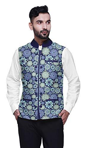 Atasi Mandala Mens Casual Jacken leichte Partywear indische Weste gedruckt Nehru Jacke-XX-Large