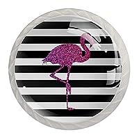引き出しノブプルハンドル4個 クリスタルガラスのキャビネットの引き出しは食器棚のノブを引っ張る,ストライプのピンクのフラミンゴ