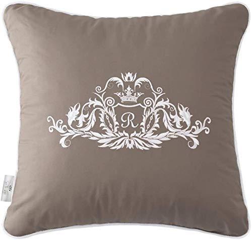 Sei Design Deko-Kissen Royal Ambience mit hochwertige Stickerei – 45x45 cm, passend zu Luxus Tagesdecke Royal Ambience. Eine eingearbeitete perlweiße Kante verleiht dem Kissen eine besondere Eleganz. Farbe: taupe