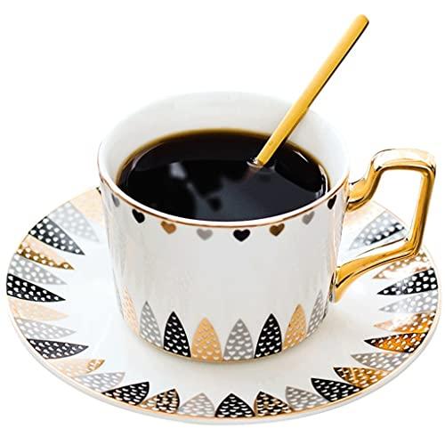 Latte Art Cup - Taza de café y platillos de cerámica de alto grado de estilo europeo con cuchara para oficina y hogar, color negro