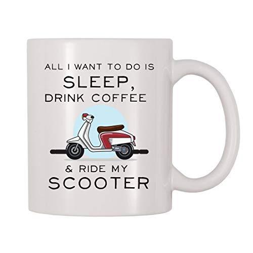 Maureen52Dorothy alles wat ik wil doen is slapen, koffie drinken, rijden mijn scooter mok, rijden een scooter, scooters, rusten, drinken koffie thema-beker, cadeau voor 11Oz
