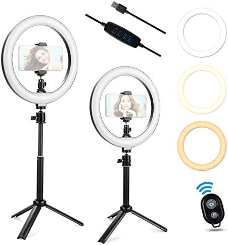Ring Light with Stand JINSE 10 Dimmable Desktop Selfie Ring Light with Adjustable Tripod for product image