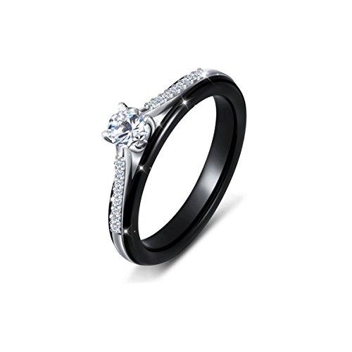 Black Ceramic S925 Sterling Silver Engagement Weeding Bride Rings for Women Mother Girl 5