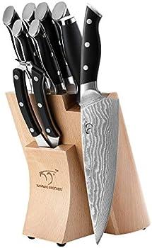 Kitchen Damascus 9-Piece Kitchen Knife Set with Block