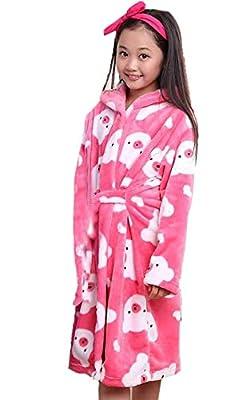 XINNE Boys Girls Hooded Dressing Gown Unisex Kids Bathrobes Flannel Sleepwear