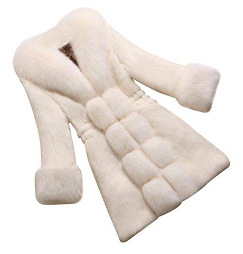 CHENGYANG Donna Giacca Lunga Pelliccia Sintetica Cappotto Invernali Maniche Lunghe Giacche (Bianco#2, M)