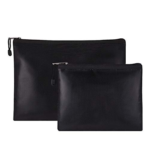 Bolsa Ignifuga (1093 °C) Silicona impermeable con Bisagra Incombustible para Documentos Dinero Tableta Pasaporte Joyería Protección (2 Piezas)