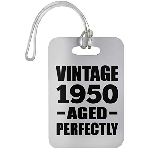 70th Birthday Vintage 1950 Aged Perfectly - Luggage Tag Bag-gage Suitcase Tag Durable Plastic - Gift for Friend Kid Daughter Son Grand-Dad Mom Birthday Anniversary Mother's Father's Day