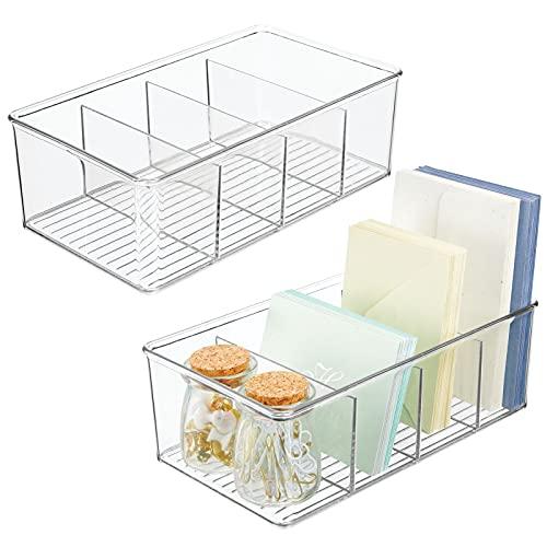mDesign Set da 2 box in plastica ideali per cucina, ufficio e bagno – Ampio contenitore ufficio diviso in 4 scomparti – Portaoggetti da scrivania in robusta plastica – trasparente