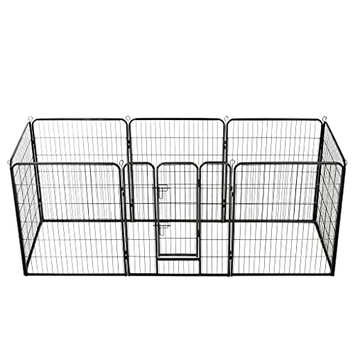 SHUJUNKAIN Corral para Perros 8 Paneles de Acero 80x100 cm Negro Productos para Mascotas Productos para Mascotas Productos para Perros Casetas y cercados para Perros Negro