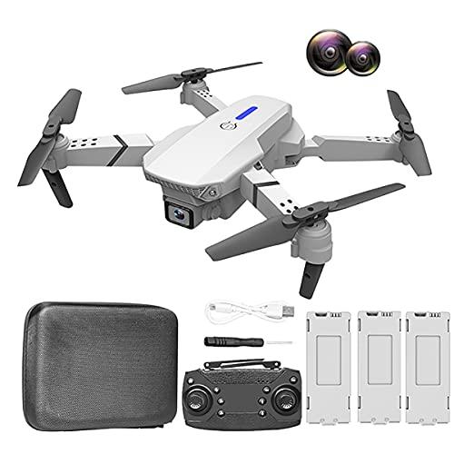 HYZHYZ Mini Drone 4K 1080P HD Cámara para Adultos, FPV Video en Vivo RC Quadcopter para Juguetes para Principiantes de niños, Flips 3D, Vuelo de trayectoria, Modo sin Cabeza,Blanco,3 Battery Pcs