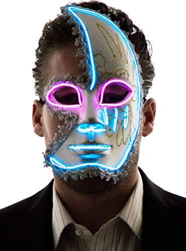 NEON NIGHTLIFE Men's Light Up Half Face Venetian Sparkle Mask, Blue & Pink
