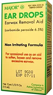 Ear Drops Earwax Removal Aid -- 0.5 fl oz By Major Compare to Debrox - Pack of 2