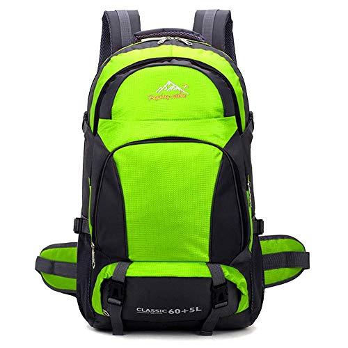 Outdoor Hiking Backpack 65L, Waterproof Lightweight Trekking Rucksack Climbing Fishing Traveling Backpack Hiking Daypack for Men Women Unisex Rucksack 60L+5L,Orange GAGEAA (Color : Green)