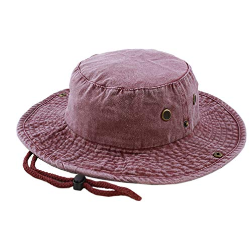 The Hat Depot 100% Cotton Stone-Washed Safari Wide Brim Foldable Double-Sided Outdoor Boonie Bucket Hat (L/XL, 3. Pigment - Burgundy)