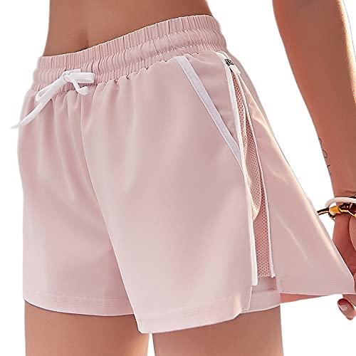 Mujer Cremallera Sport Jogging Corto, EláStico Cintura Alta Leggings Shorts Pantalones Seguridad Anti-Perspectiva Ancho Pierna Ajustable Transpirable Secado RáPido, para Entrena(Size:METRO,Color:Rosa)