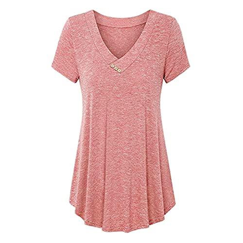 Blusa Mujer Elegante Cuello V Manga Corta Color Sólido Largos Sueltos Mujer Shirt Verano Cómodo Suave Elegante Exquisito Temperamento Mujer Tops A-Pink XL