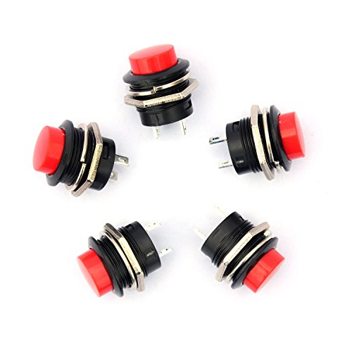 Ytian 5 Stück 16 mm Push Button Switch AC 6A/125V 3A/250V Schalter Momentary Mini Push Button Power On/Off , Rot