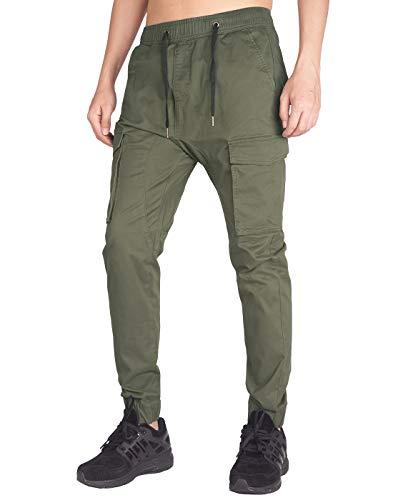 ITALY MORN Jogger Cargo Pantalones Hombre Verde Slim Fit (Ejercito Verde, L)