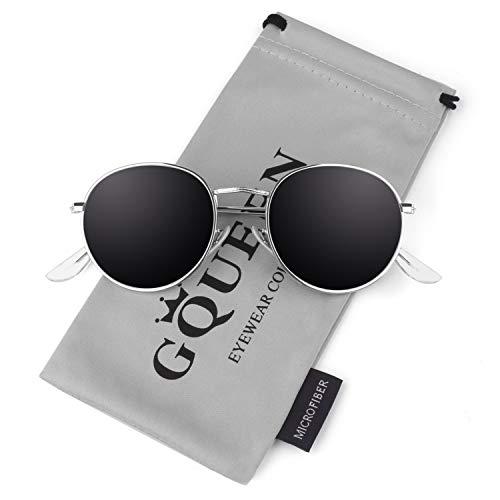 GQUEEN Occhiali da Sole Vintage rotondi a Specchio Polarizzati con Protezione UV400 MFF7