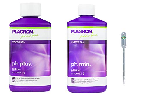 Weedness Plagron pH- Minus 500 ml + pH+ Plus 500 ml im Set - pH-Heber Grow Anbau Indoor Dünger Pflanzen Blumen Granulat Ph Plus Flüssig Heben