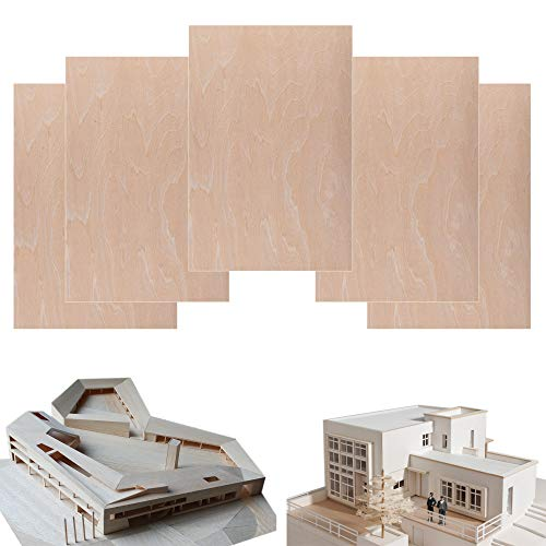 5 Pack Basswood Sheets 1/16 x 8 x 12 Inch, Thin Plywood Wood Sheets for Crafts