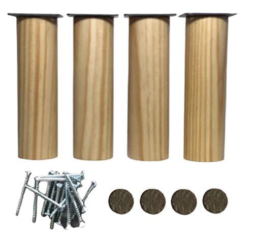pack 4 patas de madera 15cm alto natural y placas montaje ya instaladas patas para muebles de cocina patas para sofá y para cualquier tipo de mueble