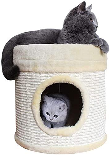Felpa Gatitos casa Redonda, condominios de Gatos para Mascotas de 13,8 Pulgadas, Barril de un Solo Orificio, rascador de Cama para Gatos