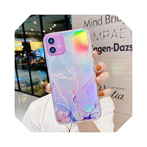 Aurora - Carcasa impermeable para iPhone 12 11 Pro X XR XS Max Mini 6 6S 8 7 Plus se 2020 Clear Soft TPU Cover-A6 Pink (Laser)-para iPhone XS Max
