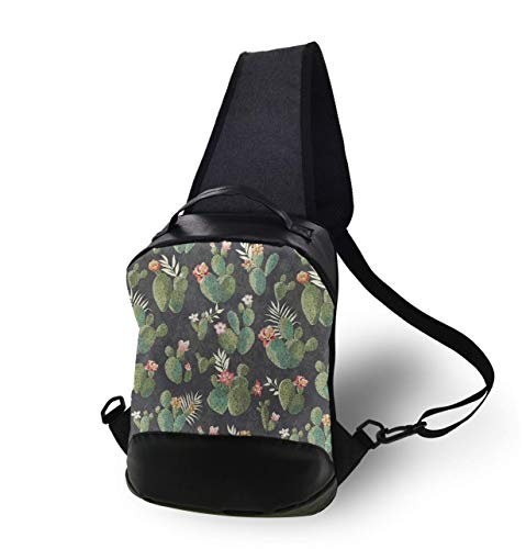 Teens Floral Cactus Flowers Gym Bag - Cool Casual Chest Bag, Anti-Theift Sling Shoulder Adjustable Daypacks, Large Capacity Books Bottle Camera Sack Bag,13inch