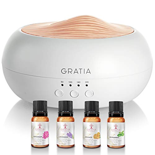 Gratia Naturals Essential Oils Aroma Diffuser w/ 4 Oils Set Included, Ultrasonic Silent Cool Mist Humidifier for Large Room, 7- Color Light, Aromatherapy Air Diffuser for Essential Oils - Gift Set