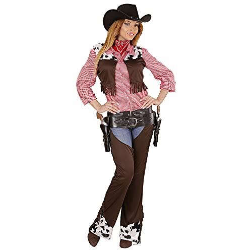 Widmann 02892 Costume pour Adulte Cowgirl Gilet, Jambières et Ceinture, Marron, Taille M