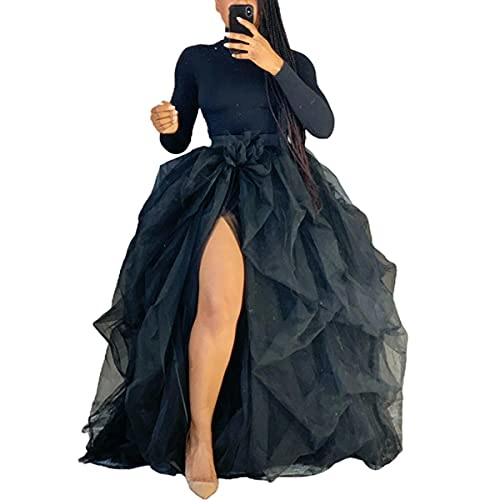 Women Tulle Skirt High Slit Layered Puffy Long Skirts Wedding Night Out Party Adult Tutu Skirts Black