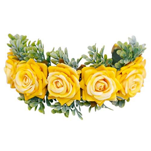 Lurrose Rosa Corona Festival Floral Hoja Diadema Ajustable Flor Corona de Pelo...