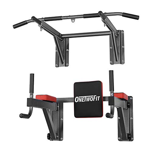 OneTwoFit Multifunctional Wall Mounted Pull Up Bar Power Tower Set Chin Up Station Home Gym Workout Strength Training Equipment Fitness Dip Stand Supports to 330 Lbs OT076G