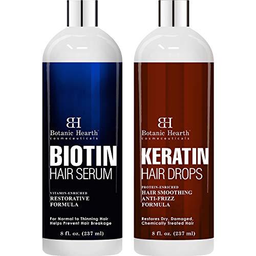 Botanic Hearth Biotin Hair Serum and Keratin Hair Serum Bundle - Enriched with Restorative and Nourishing Ingredients - Promote Thicker, Healthy Looking Hair