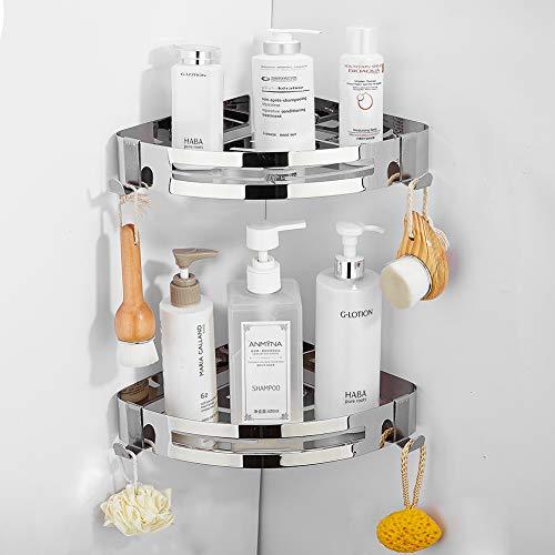 Yeegout Mensola angolare da bagno adesiva con 2 ganci rimovibili cestello portaoggetti per doccia in acciaio inossidabile senza perforazione per cucina (2 livello)